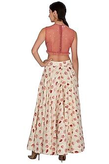 Dusky Red & White Embroidered Printed Lehenga Set by KAIA