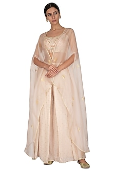 Golden Embroidered Blouse With Palazzo Pants & Cape by KAIA