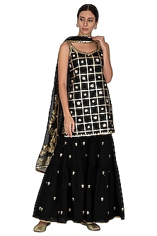 Black Embroidered & Printed Gharara Set by KAIA