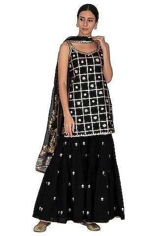 Black Embroidered & Printed Gharara Set by KAIA