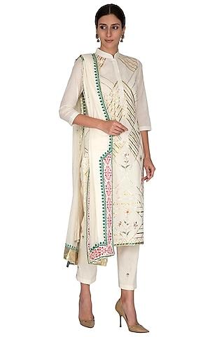 Off White Embroidered & Printed Kurta Set by KAIA