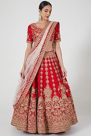 Red Zardosi Embellished Lehenga Set by Kalighata