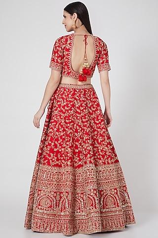 Red Embroidered Lehenga Set by Kalighata