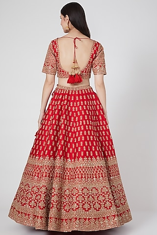 Red Zari Embroidered Lehenga Set by Kalighata
