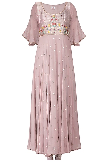Dusky lavender embroidered anarkali set by KAIA