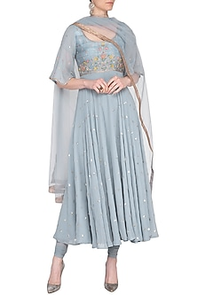 Bluish grey embroidered anarkali set by KAIA