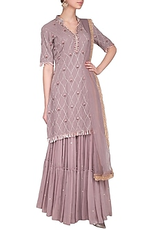 Dusky Lavender Embroidered Sharara Set by Kaia