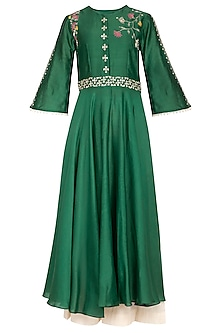 Emerald Green Embroidered Anarkali Set by Kaia
