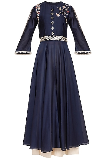 Indigo Blue Embroidered Anarkali Set by Kaia