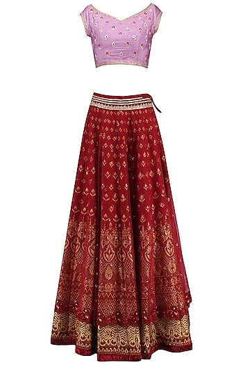 Mauve and Maroon Embroidered Lehenga Set by KAIA