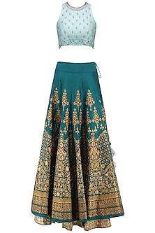 Powder Blue and Teal Embroidered Lehenga Set by KAIA