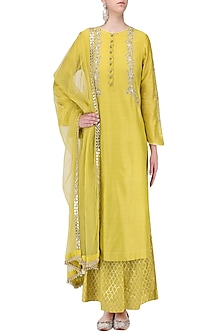Yellow Mirror Embroidered Kurta with Palazzo Pants Set by KAIA