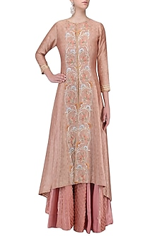 Peach Embroidered Jacket with Sharara Pants Set by KAIA