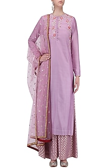 Lavender Floral Embroidered Kurta with Palazzo Pants Set by KAIA