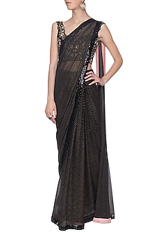 Black embroidered saree set by KAIA