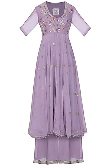 Mauve embroidered anarkali set by KAIA