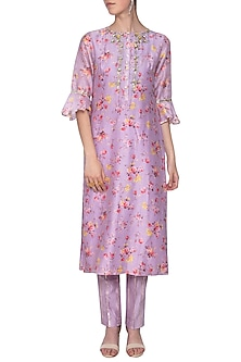 Mauve embroidered kurta with pants by KAIA