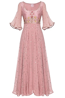 Rose dust embroidered anarkali set by KAIA