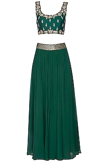 Emerald green embroidered lehenga set by KAIA