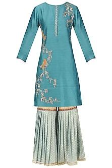 Teal Embroidered Kurta with Light Blue Gharara and Dupatta Set by KAIA