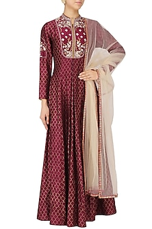 Maroon Embroidered Kurta Dress by KAIA