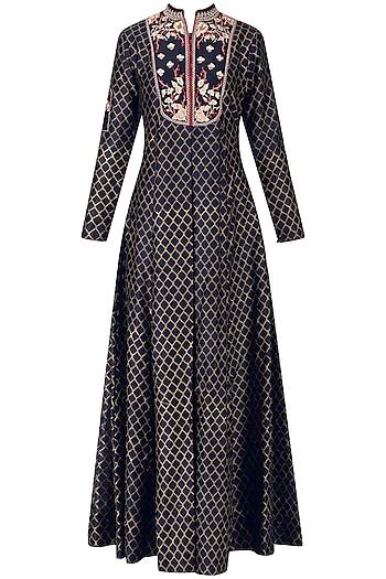Indigo Embroidered Kurta Dress by KAIA