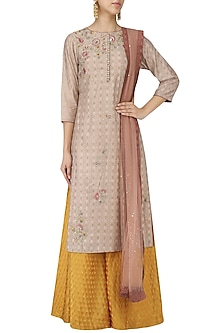 Taupe Embroidered Kurta with Banarasi Sharara and Dupatta Set by KAIA
