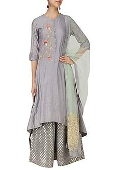 Dusky Blue Embroidered Asymmetrical Kurta with Palazzo Pants and Dupatta Set by KAIA