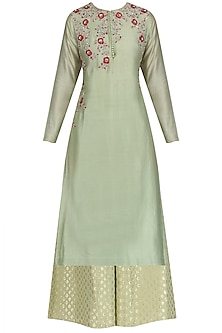 Mint Sequins and Zardosi Work Kurta and Palazzo Set by KAIA