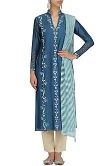 Ink Blue Embroidred Kurta and Khadi Pants Set by KAIA