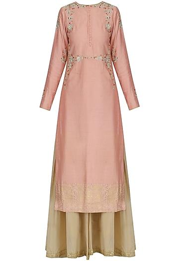 Lotus Pink Embroidered Kurta and Sharara Set by KAIA