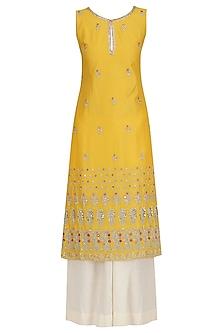 Yellow Embroidered Kurta and Khadi Palazzo Set by KAIA