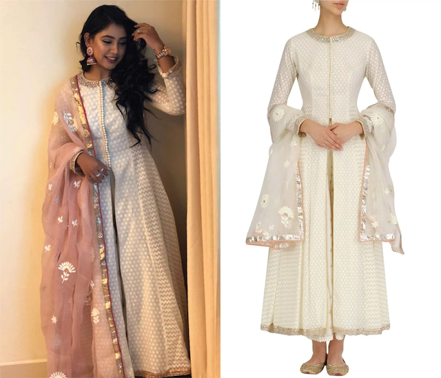 White Embroidered Kalidaar and Chanderi Palazzo Set by KAIA