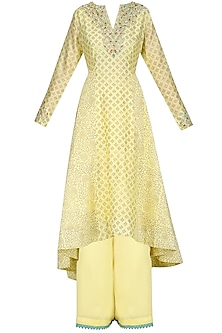 Cream Asymmetrical Block Printing Kurta and Pants Set by KAIA