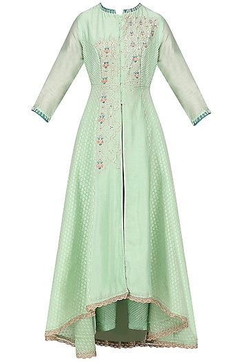 Sea Green Embroidered Jaquard Jacket with Pants Set by KAIA