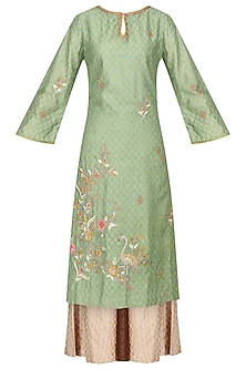 Mint Green Embroidered Kurta with Palazzo Pants Set by KAIA