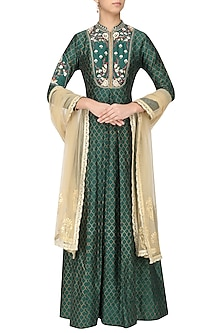 Peacock Green Embroidered Anarkali Set by KAIA