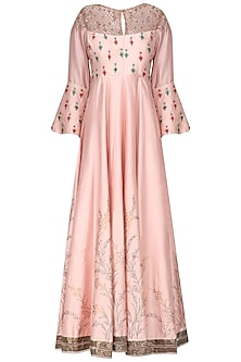 Lotus Pink Embroidered Anarkali Set by KAIA