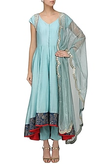 Powder Blue Embroidered Jacket with Palazzo Pants Set by KAIA