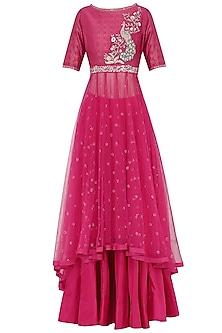 Pink Embroidered Kurta With Lehenga Skirt Set by KAIA