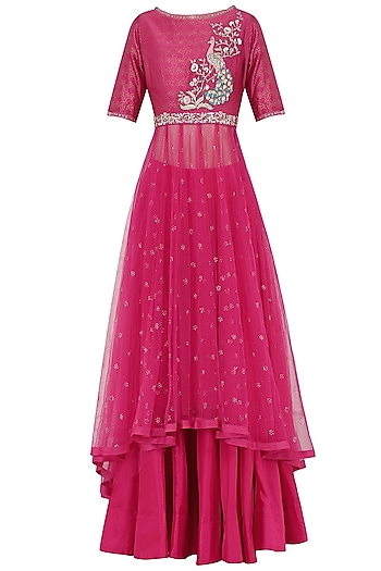 Pink Embroidered Kurta With Lehenga Skirt Set by KAIA