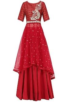 Red Embroidered Kurta With Lehenga Skirt Set by KAIA