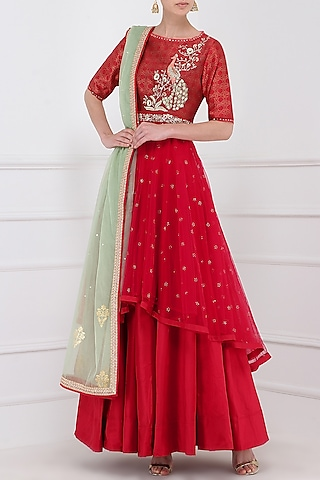 Red Embroidered Kurta With Lehenga Skirt Set by KAIA