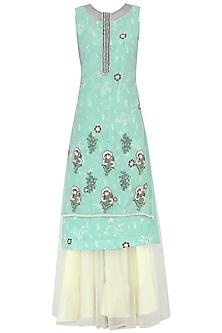 Powder Blue Embroidered Kurta With Lehenga Skirt Set by KAIA