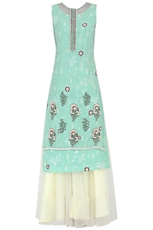 Powder Blue Embroidered Kurta With Lehenga Skirt Set by KAIA