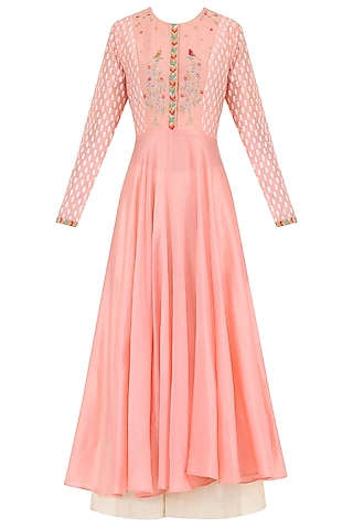 Salmon Pink Embroidered Kurta With Palazzo Pants by KAIA