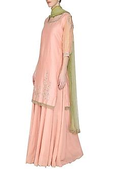 Light Pink Embroidered Kurta with Sharara Pants Set by KAIA