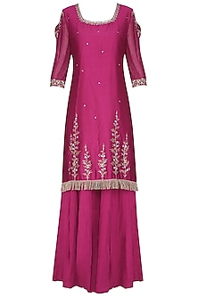 Magenta Pink Embroidered Kurta with Sharara Pants Set by KAIA