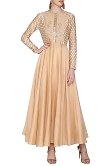 Taupe Embroidered Kurta with Ivory Palazzo Pants by KAIA