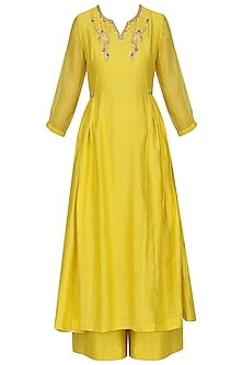 Yellow Embroidered Kurta Set by KAIA